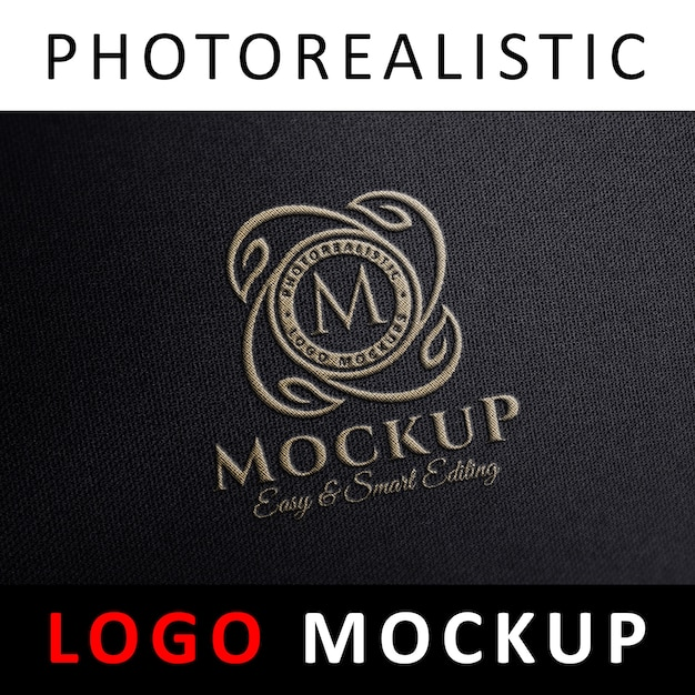 Logo mock up - embroidered fabric stitched logo Premium Psd