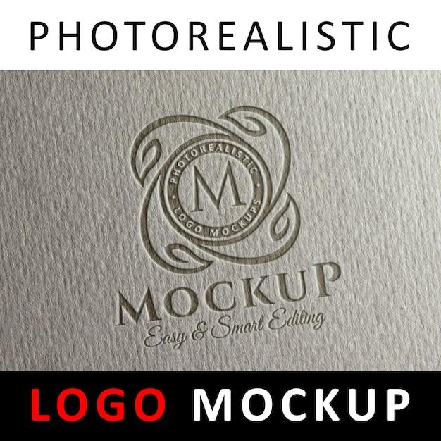 Logo mock up - letterpress logo on paper Premium Psd