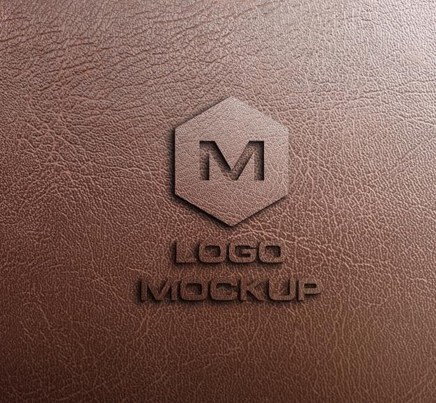 革の背景にロゴをモックアップ 無料 Psd