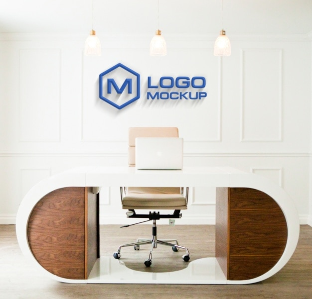 Logo Mock Up On Office Wall Free Psd
