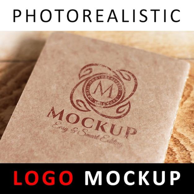 Logo mock up - printed logo on kraft card Premium Psd