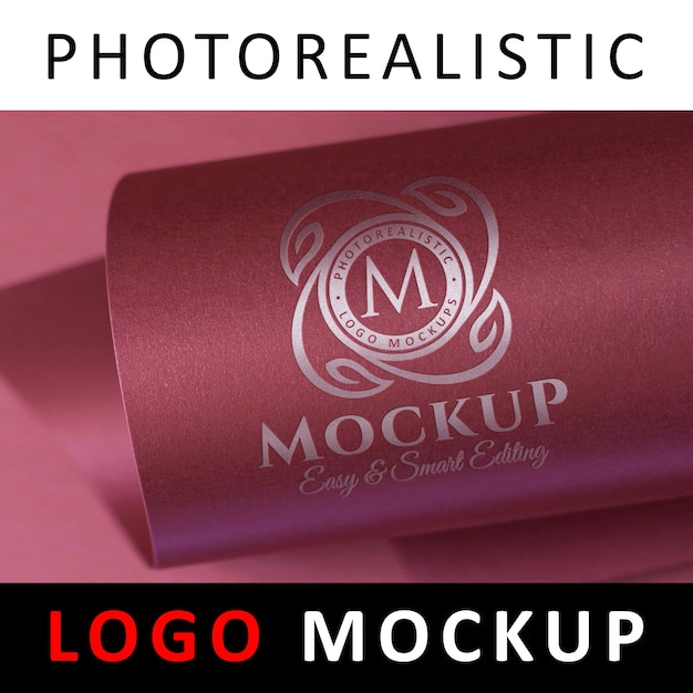 Logo mock up - silver foil stamping on rose card paper Premium Psd