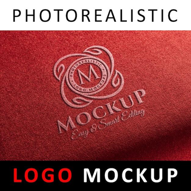 Logo mock up - stitched logo on red fabric Premium Psd