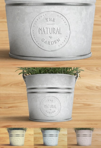 Logo mock up with plant Free Psd