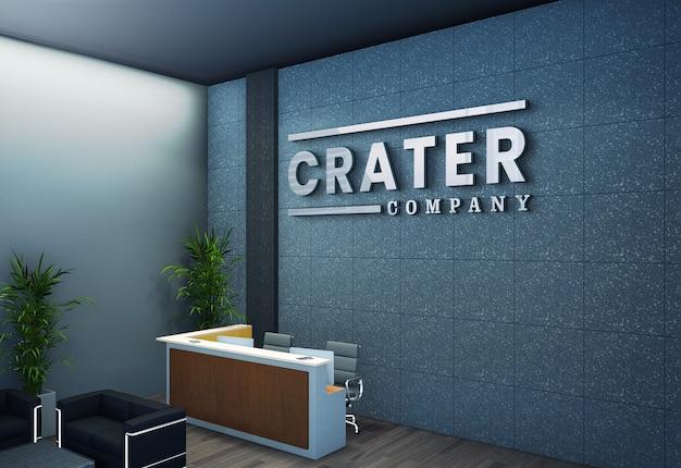 Logo mockup on 3d corporate office reception wall Premium Psd