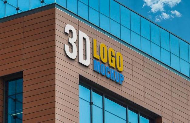 Logo mockup 3d sign building, building brick wall 3d logo mockup Premium Psd