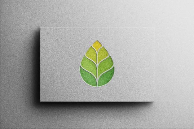 ホワイトペーパーのロゴモックアップ3dスタイル Premium Psd