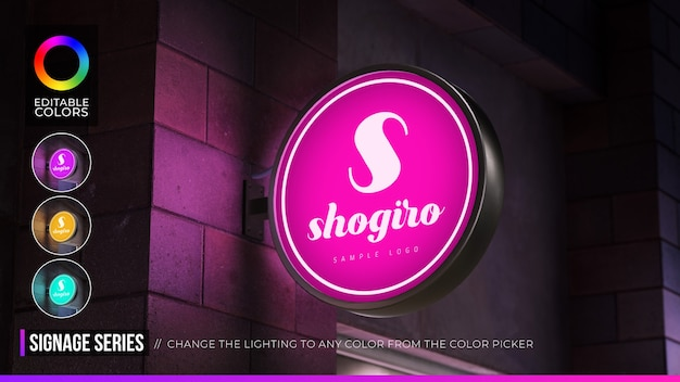 Logo mockup circular hang sign with editable color in night environment Premium Psd