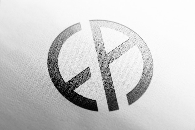Logo mockup close up white paper Free Psd