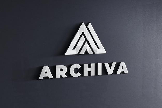Logo mockup on company dark grey wall texture Premium Psd