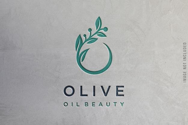 Logo mockup on concrete texture Premium Psd