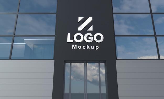 ロゴモックアップデザイン建物のクローズアップ3dレンダリング Premium Psd