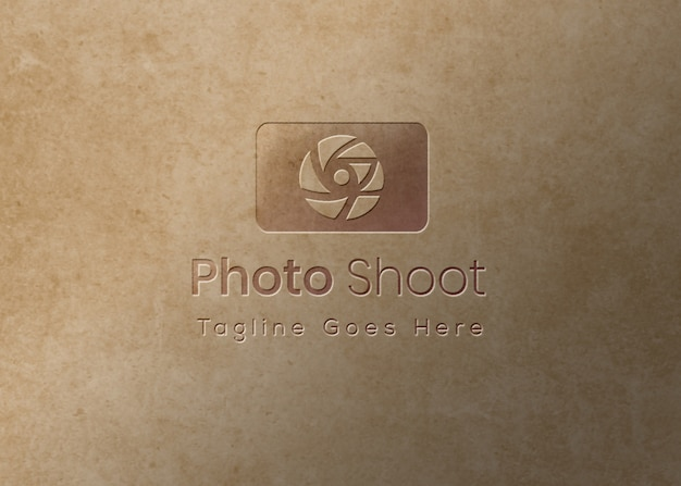 Logo mockup embossed effect overtexture background Premium Psd