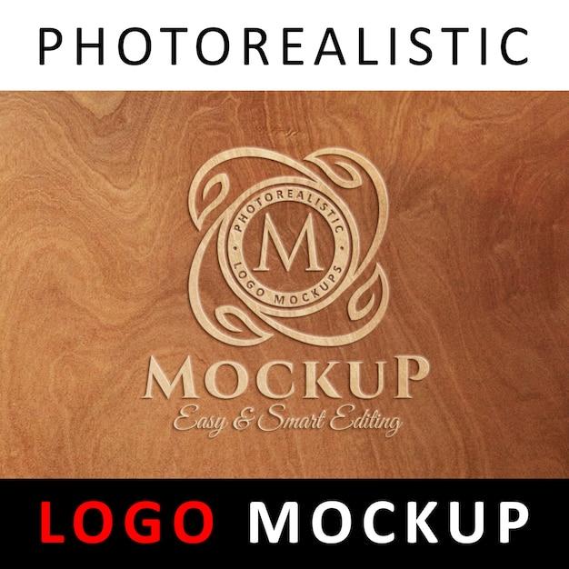 ロゴモックアップ - 木製の表面に刻印されたロゴ Premium Psd