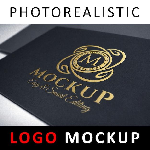Logo mockup - gold foil stamping logo on black card Premium Psd