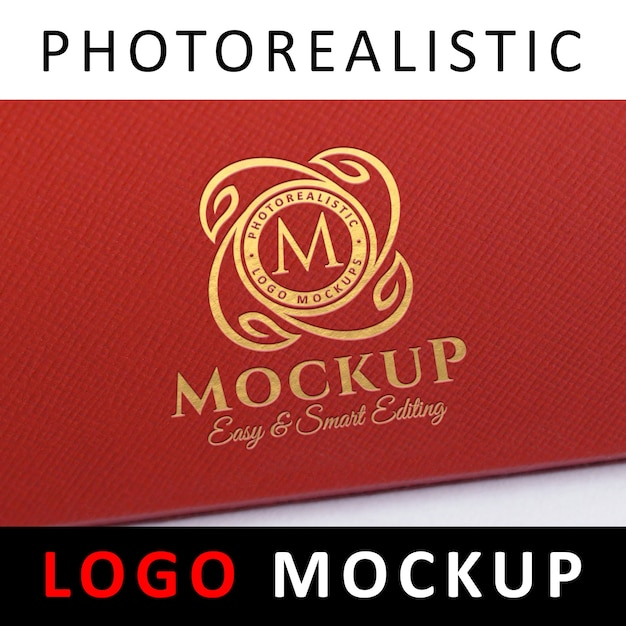 Logo mockup - gold foil stamping logo on red textured leatherette Premium Psd