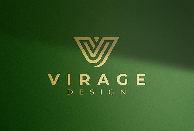 Logo mockup golden logo with shadow