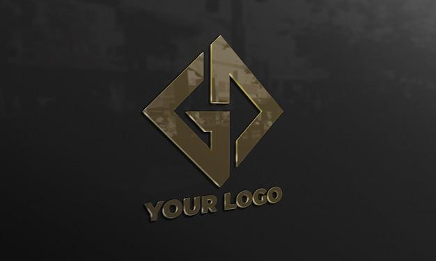 검은 벽에 로고 이랑 프리미엄 PSD 파일