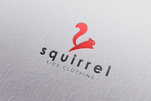Макет логотипа в белой бумаге Premium Psd