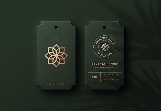 Logo mockup on luxury hang tag Premium Psd
