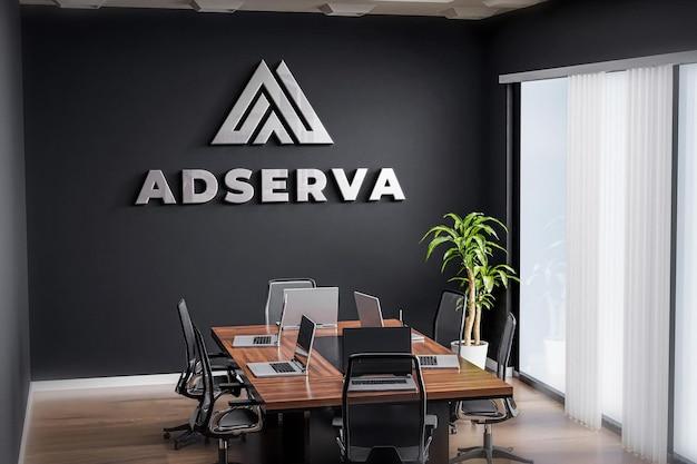 Logo mockup meeting room office black wall realistic
