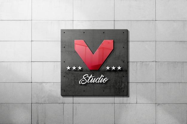 Logo mockup of metal sign on concrete wall Premium Psd