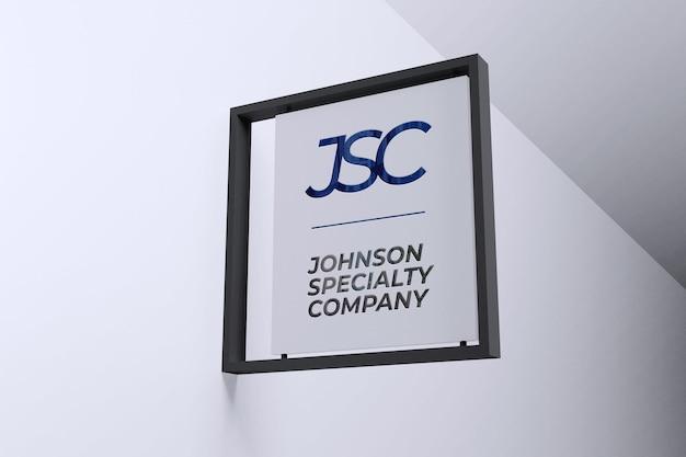 Logo mockup modern hanging sign Free Psd