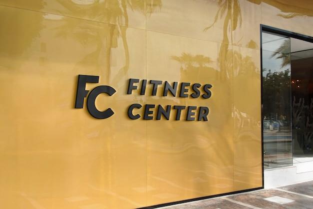 Logo mockup modern yellow facade sign Premium Psd