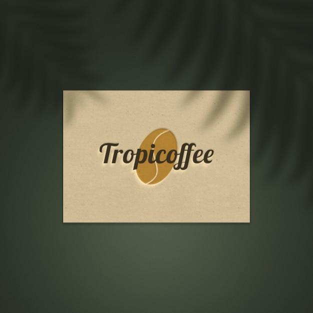 Logo mockup on natural paper business card Premium Psd