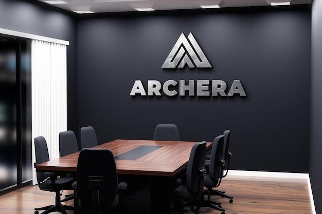Logo mockup office black wall meeting room Premium Psd