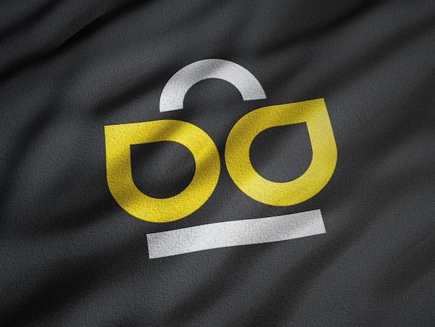 블랙 주름진 원단에 로고 모형 프리미엄 PSD 파일