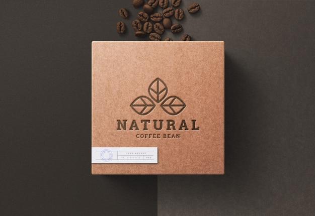 커피 상자에 로고 이랑 프리미엄 PSD 파일