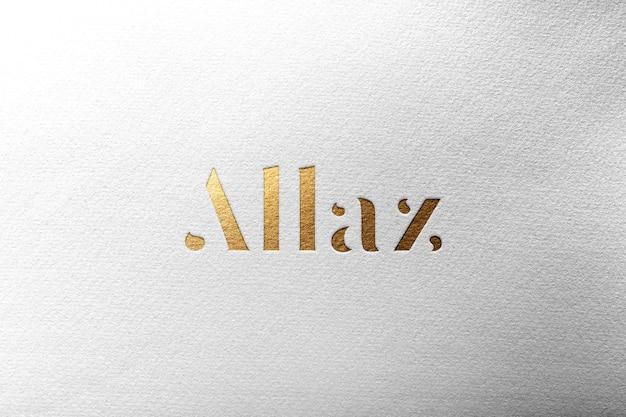 Logo mockup paper gold Premium Psd