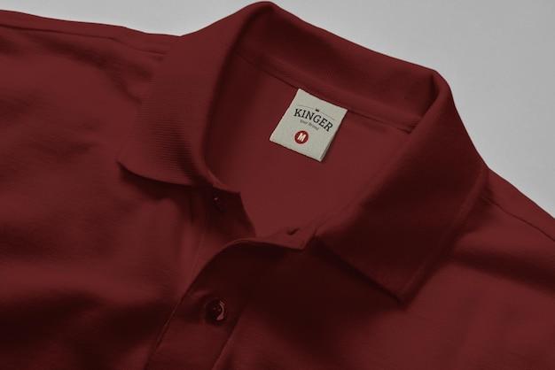 로고 모형 폴로 셔츠 넥 라벨 프리미엄 PSD 파일