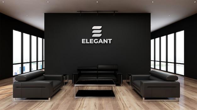 로고 모형 현실적인 기호 사무실 검은 벽 프리미엄 PSD 파일
