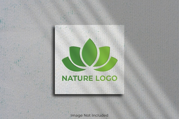 Logo mockup on square business card with shadow Premium Psd
