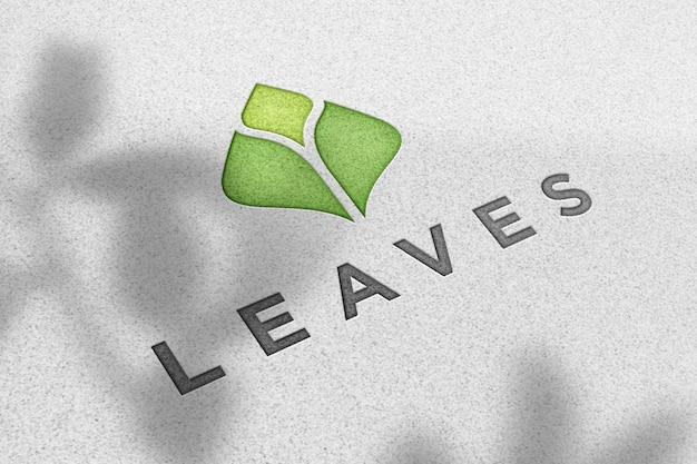 Logo mockup on white paper texture Premium Psd