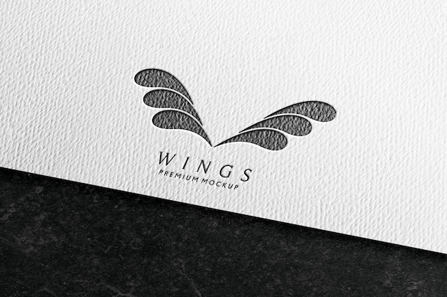 Logo mockup in white paper with pencil texture Premium Psd
