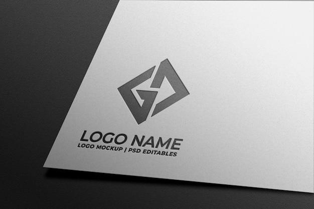 Download Logo mockup in white paper   Premium PSD File