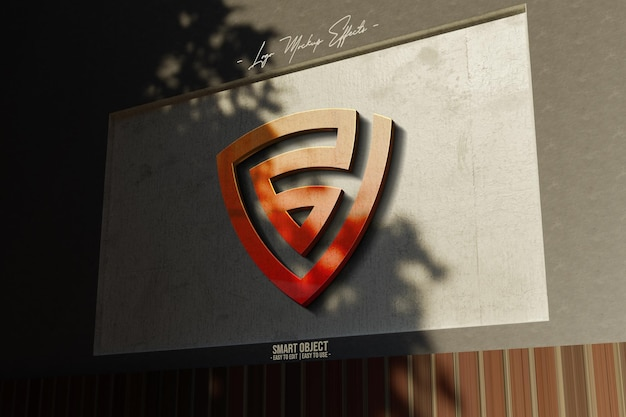 Logo-mockup-with-3d-logo-in-wall Premium Psd