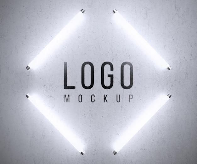 Logo mockup with lights Free Psd
