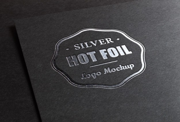 Logo mockup with metallic foil printing Free Psd