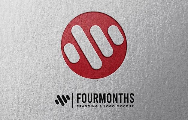 종이 엠 보스 효과가있는 로고 모형 프리미엄 PSD 파일