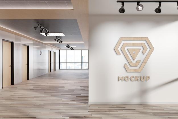 사무실 벽 모형에 로고 프리미엄 PSD 파일