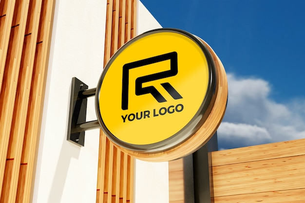 Logo sign mockup in the exterior building office store Premium Psd