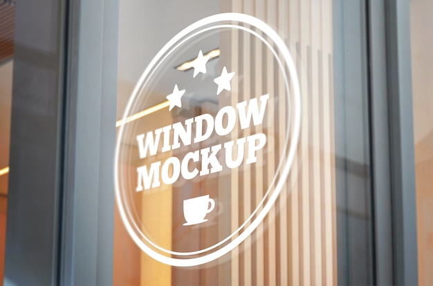 Logo, sign mockup on glass window Premium Psd