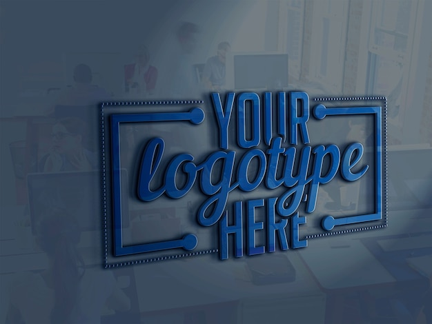 Logotype template on office background Premium Psd