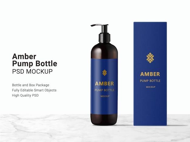 Мокап бутылки с длинным янтарным насосом и упаковочной коробки Premium Psd