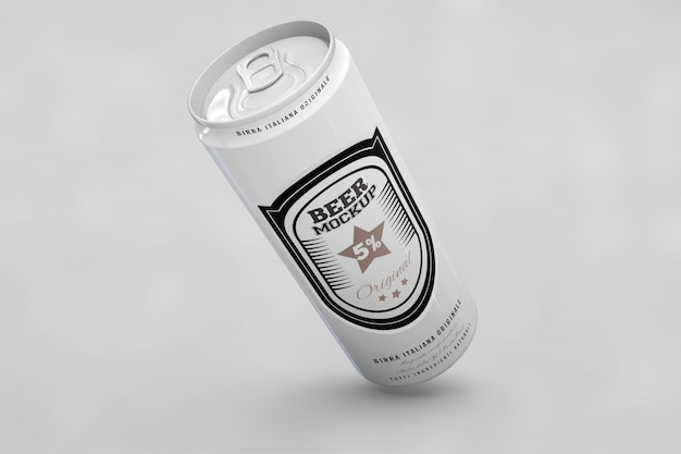 Long beer can mock up Free Psd