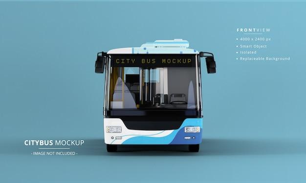 Long City Bus Mockup 전면보기 프리미엄 PSD 파일